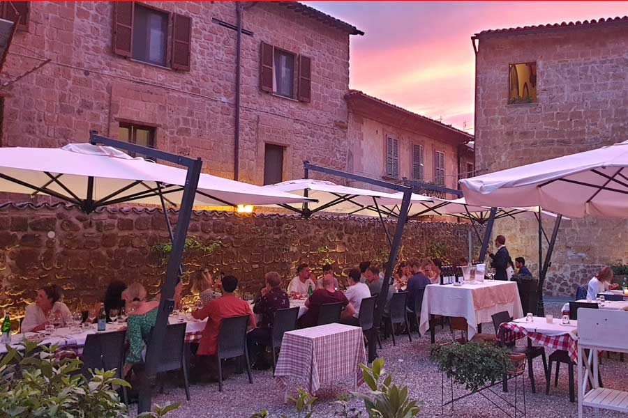 Sunset in a courtyard in Orvieto for a wedding party